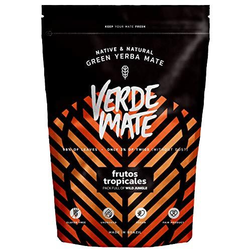 Verde Mate Frutos Tropicales 500g, Yerba Mate con Frutas Exoticas, Yerba Mate Té de Brasil, Vegano, Sin Gluten, Sin Humo