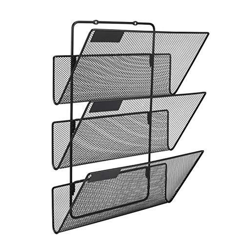 EasyPAG A4-Ablage mit 3 Ebenen, robust, Netzstoff, für Wandordner, Zeitschriftenhalter, schwarz