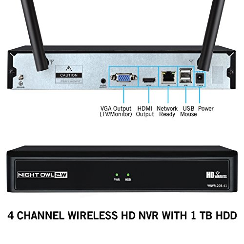 Night Owl Camera System 4 Channel 1080p Wireless Smart Security Hub, White (WNVR201-44P-B)