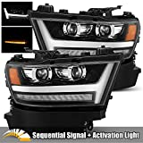 AlphaRex PRO-Series Jet Black For 19-20 Ram DRL/Sequential Signal Dual Projector Headlights