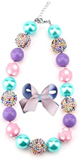 Chunky Bubblegum Necklace Colorful Fashion Beads and Hairpin with Gift Box for Baby Girls