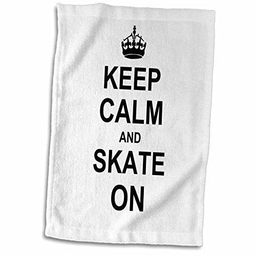 "3D Rose Keep Calm Carry Funny Skateboarding Ice Skater o Patinaje de Patinaje de Patinaje Toalla de 15"" x 22"""