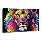 Large Wall Art Modern Painting Wall Decoration Colorful Lion Art Pictures Print On Canvas for Living Room Wall Decor - Size:24x36inch Ready to Hang.