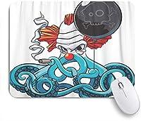 NIESIKKLAマウスパッド カラフルなタコ怒っているピエロの喫煙葉巻 ゲーミング オフィス最適 高級感 おしゃれ 防水 耐久性が良い 滑り止めゴム底 ゲーミングなど適用 用ノートブックコンピュータマウスマット