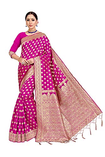 IDIKA Women's Art Silk Banarasi Woven Saree with Blouse Piece (I29837, Pink)