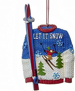 Kurt Adler Let It Snow Sweater And Skis Resin Christmas Ornament