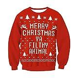 DISCOUNTL Navidad de gran tamaño ropa de cuello redondo suelta con capucha suéter camiseta roja jersey para adolescentes niñas jumpers para mujeres mujeres trajes de Navidad 010. M