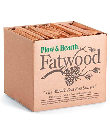 Plow & Hearth Boxed Fatwood Fire Starter All Natural Organic Resin Rich Eco Friendly Kindling Sticks for Wood Stoves Fireplaces Campfires Fire Pits Burns Quickly and Easily Safe Non Toxic (11 LB)