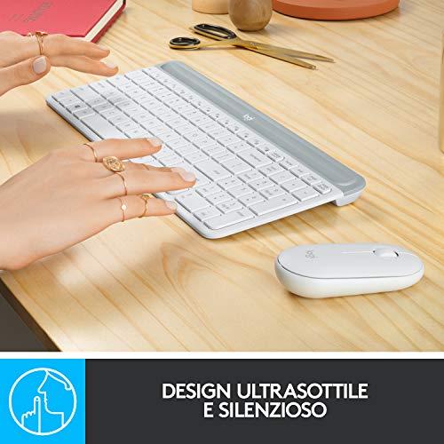 Logitech Mk470 Kit Mouse e Tastiera Wireless per Windows, Ricevitore USB 2.4 Ghz, Sottile, Compatto, Silenzioso, Batteria Lunga Durata, Pc/Laptop, Layout Italiano Qwerty, Bianco