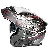 バイクフルフェイスBluetoothヘルメットモーターサイクルクラッシュモジュラーフリップアップヘルメットモトクロスレーシング統合ヘルメットDOT認定、成人男性女性用ダブルサンバイザー付き