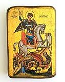 Holz-Ikone des Heiligen Georgs, der mit seinem Pferd reitet und das Biest erlegt, griechisch-christlich-orthodoxe Holz-Ikone A0