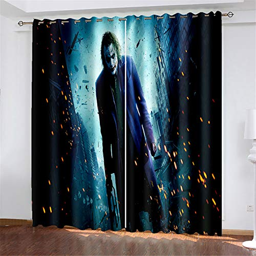 FACWAWF Household Polyester Fabric Curtains 3D Clown Living Room Bedroom Balcony Study Blackout Curtains 150x166cm(2pcs)