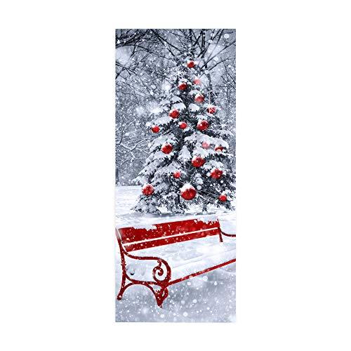 WingFly Türtapete Türfolie Weihnachten selbstklebend TürPoster 3D Weihnachts Fototapete Türfolie Poster ChristmasTapete Abnehmbar Wandtapete Xmas für Wohnzimmer Küche Schlafzimmer 77X200cm