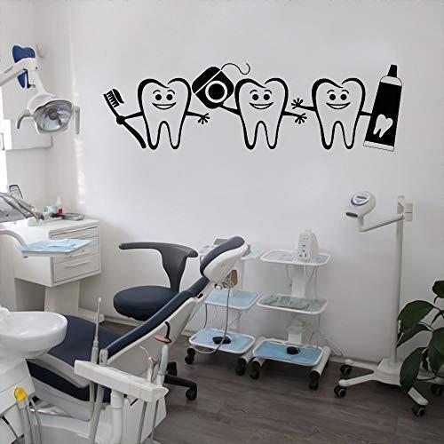 XCSJX Diente de Dibujos Animados con Cepillo de Dientes Pegatina de Vinilo de Pared Diente Dentista calcomanía para clínica Dental decoración extraíble 105x34 cm