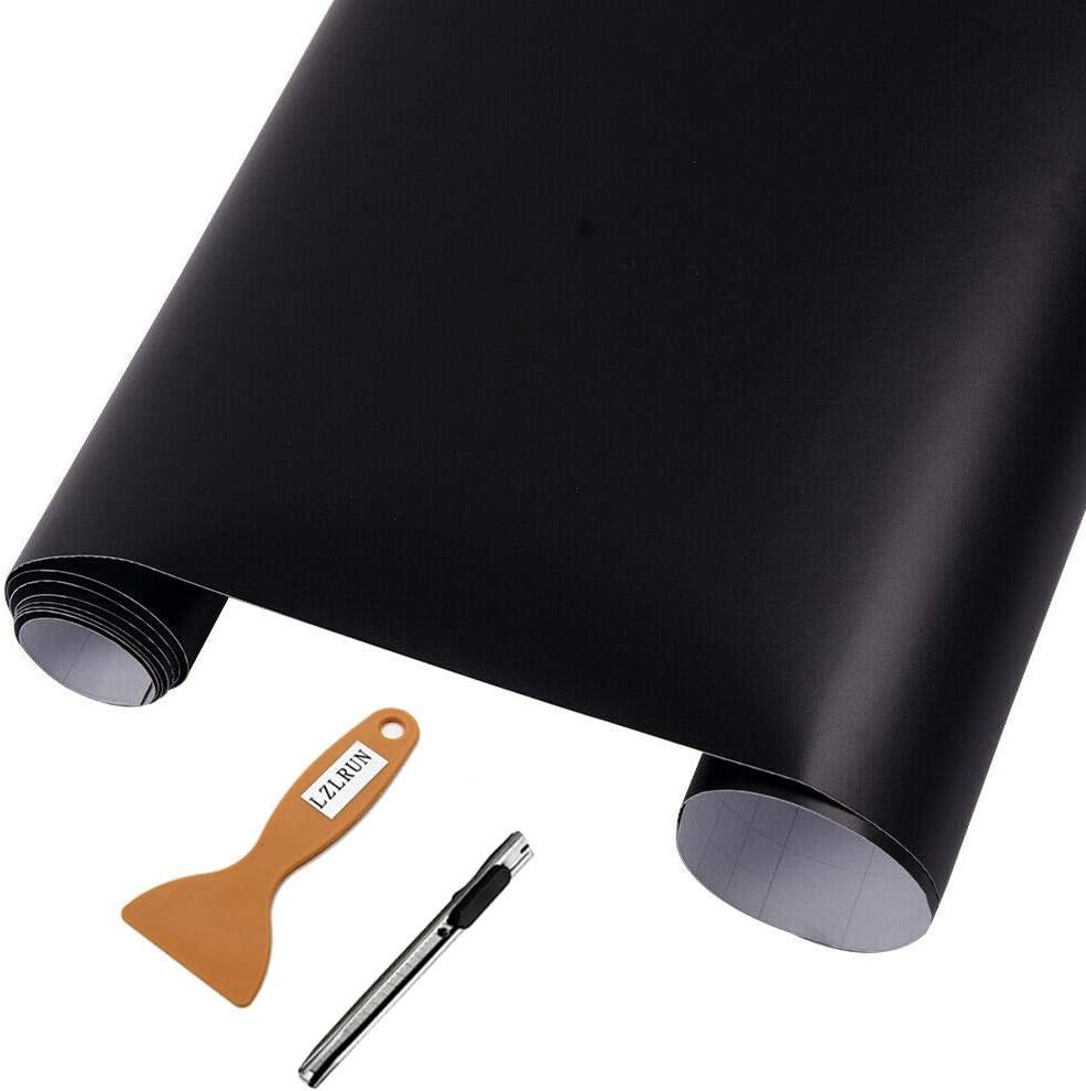 NewL Burbuja autoadhesiva de vinilo negro mate para liberación de aire, clasificada al aire libre para uso automotriz + herramienta de mano (30 cm x 152 cm)