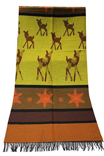 Rotfuchs Couverture Couverture en laine Couverture Couverture à carreaux Doubleface Bambi ornage jaune marron 70% laine 30% acrylique