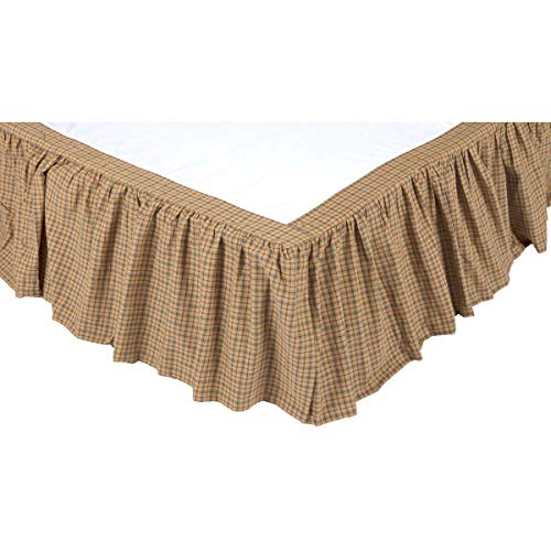 VHC Brands Millsboro Queen Bed Skirt 60x80x16 Country Rustic Bedding Accessory, Tan