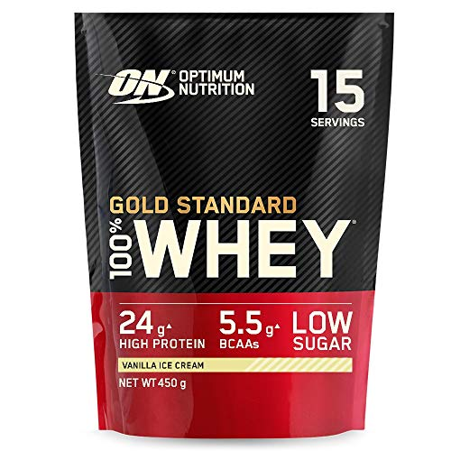 Optimum Nutrition ON Gold Standard Whey Protein, Muscle Building Powder With Naturally Occurring Glutamine and Amino Acids, Vanilla Ice Cream, 15 Servings, 450 g, Packaging May Vary