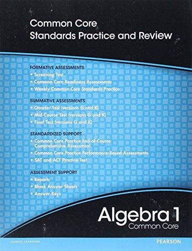 High School Math 2012 Common-Core Algebra 1 Progress Monitoring Assessment Grade 8/9
