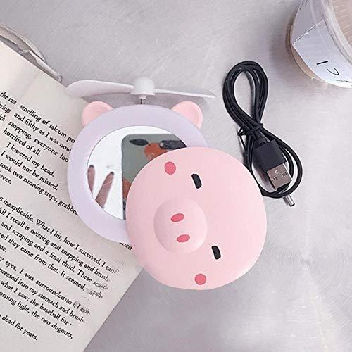 LDCP Portable LED Bande Dessinée Porc Remplir Lumière Maquillage Miroir Ventilateur Lumineux Réglable USB De Charge Portable De Poche Mini Ventilateur 2 PCS, Yeux fermés