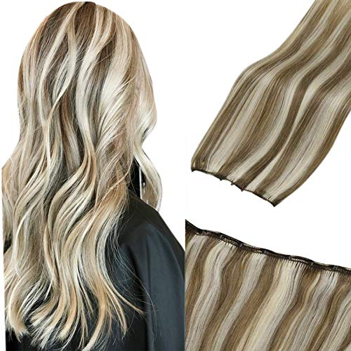 LaaVoo Remy Micro Beaded Weft Extensions Human Hair Blonde Highlight Micro Loop Weft Extensions Highlight Light Brown...