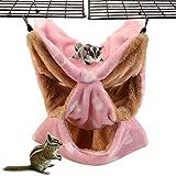 LeerKing Hamaca Hámster con 3 Capas Cama Colgante Hurón de Laberinto Geométrico para Animales Pequeños Rata Chinchilla Cobaya Ardilla para Jugar y Dormir, Rosa