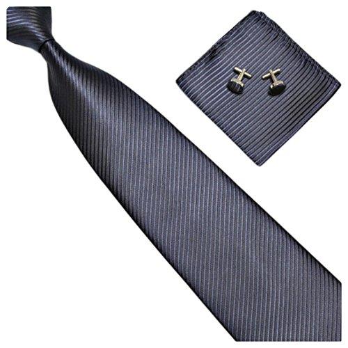 GASSANI 3-SET Blaue Krawatte Streifen gestreift | Binder Dunkel-Blau Manschettenknöpfe Einstecktuch | Krawattenset zum Anzug