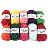 Rainbow Crochet Yarn 10 Skeins Assorted Colors 100% Polyester