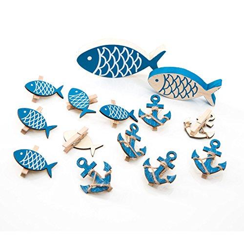 Logbuch-Verlag Set 14 molletta Decorativa Forma di Pesce Ancora Azzurro Blu Bianco Legno Decorazione Marittima Bagno Festa Tavolo