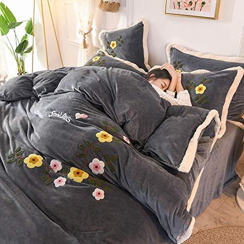 Teddy Bear Bedding,Girls Bedding set Thick Fleece Warm, Winter King Double Duvet cover Pillow Cover Flat sheet,Fitted sheets-pink 200 * 230cm(4pcs)