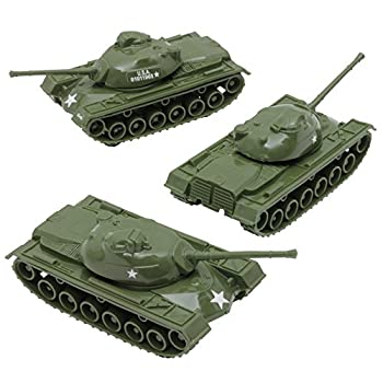 TimMee Toy Tanks for Plastic Army Men  Green WW2 3pc - Made in USA
