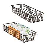 mDesign Juego de 2 cestas de almacenaje multiuso – Cestas organizadoras de alambre de metal con asas – Cestas metálicas resistentes y compactas para cocina, despensa y otros cuartos – bronce