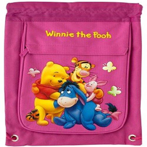 Winnie the Pooh Cinch Rucksack mit Reißverschlusstasche (Fuchsia)
