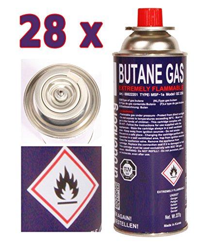 28 x Gaskartusche 227g Butan Gaskartuschen Mfs 1a für Gaskocher, Gasheizung, Gasbrenner, Bunsenbrenner (28)