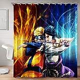 Anime Fabric Shower Curtain Set with Hooks for Boys Bathroom
