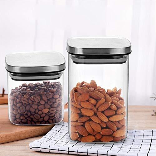 Botes de cocina Sello de cristal cubierta de acero inoxidable de cristal del té Pot Hasta olla de cocina grueso Cereales Alimentos tanque de almacenamiento Conjunto de bote (Color : 10x20cm 1400ml)