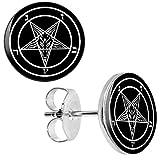 One Pair of New Small Hypoallergenic Satan Pentagram 316L Surgical Stainless Steel 10 mm Stud Earrings Satanic Baphomet Demon Deity Demonic