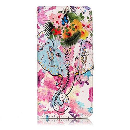 EWCover PU Funda de Cuero para Samsung Galaxy S8 Plus,Cubierta con Tapa con Estampado de Flores de Colores 3D