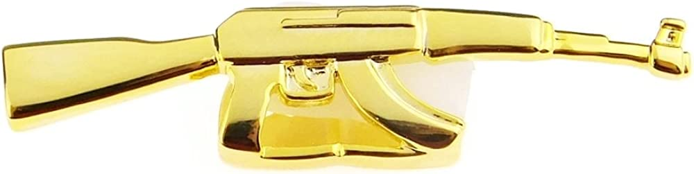 AK-47 Gold Plated Top Grill Double Cap Teeth Two Tooth Sniper Assault Rifle Gun Grillz