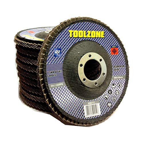 Toolzone - Dischi a lamella, 115 mm, 80 g, confezione da 5