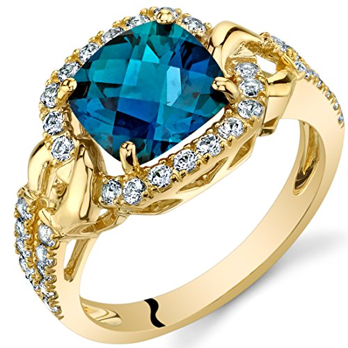 Created Alexandrite Cushion Halo Ring in 14K Yellow Gold (2.50 carat)