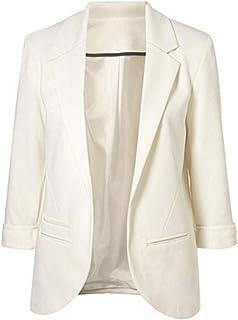 Lrady Womens Casual Blazer Open Front 3/4 Sleeve Notched Lapel Pocket Work Office Jacket Suit