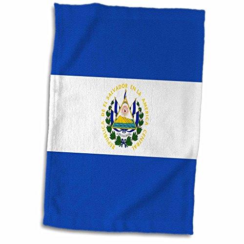 3dRose Handtuch, Motiv Flagge von EL Salvador, Mittelamerika, Blau & Weiß, mit Salvadorianischem Wappen, Mehrfarbig, 38 x 56 cm