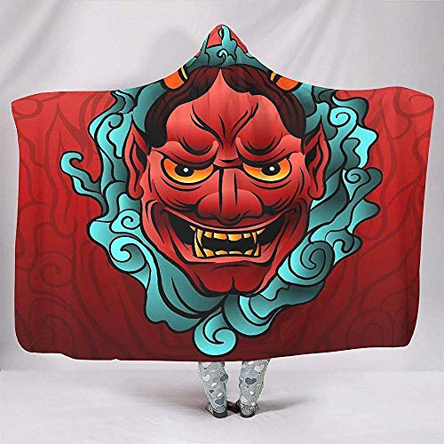 Zseeda Cool Japanese Oni Tattoo Traditional Yokai Mask Artwork Psychedelic Thick Sherpa Fans Cloak Adult Chair