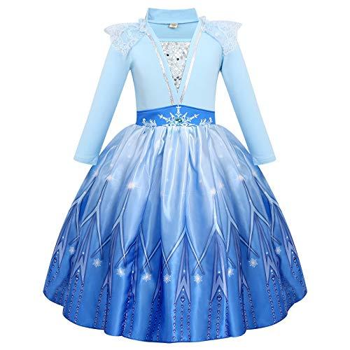 FYMNSI Disfraz de Princesa Elsa, Niñas Traje de Princesa de la Nieve...