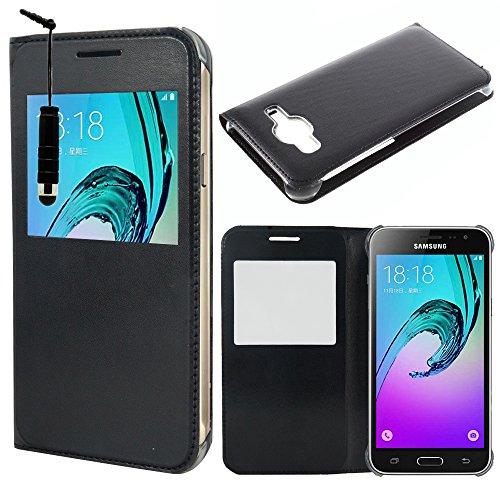 HCN PHONE Samsung Galaxy J3 (2016) Custodia Cover Vibrazione Vista Copertura Custodia per Samsung Galaxy J3 (2016) - Nero + Mini Stilo