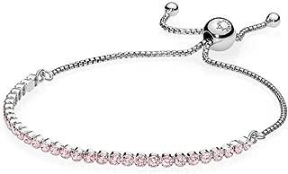 Sparkling Strand Bracelet, Sterling Silver, Pink Cubic Zirconia, 9.1 in