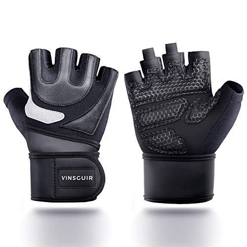 "Vinsguir Workout Gloves Men Women, Home Gym Gloves Wrist Support Leather Weight Lifting Gloves, Exercise Gloves for Pull up, Dumbbells, Training, Fitness (Black, L (7.9""-8.6""))"