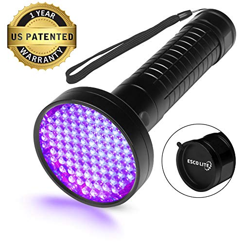 Escolite UV Flashlight Black Light, 100 LED 395 nM Ultraviolet Blacklight Flashlights Detector for Dog Urine, Pet Stains and Bed Bug, Matching with Pet Odor Eliminator