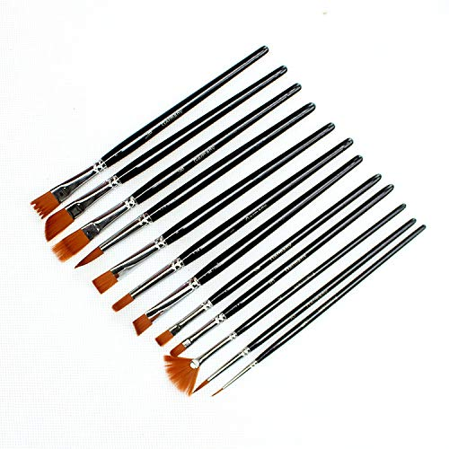 Cepillo De Aceite Gouache Brush Varilla Corta Azul Oscuro Varilla Pintura Pluma Forma Diferente Cepillo De Pelo De Nylon Set (Set)